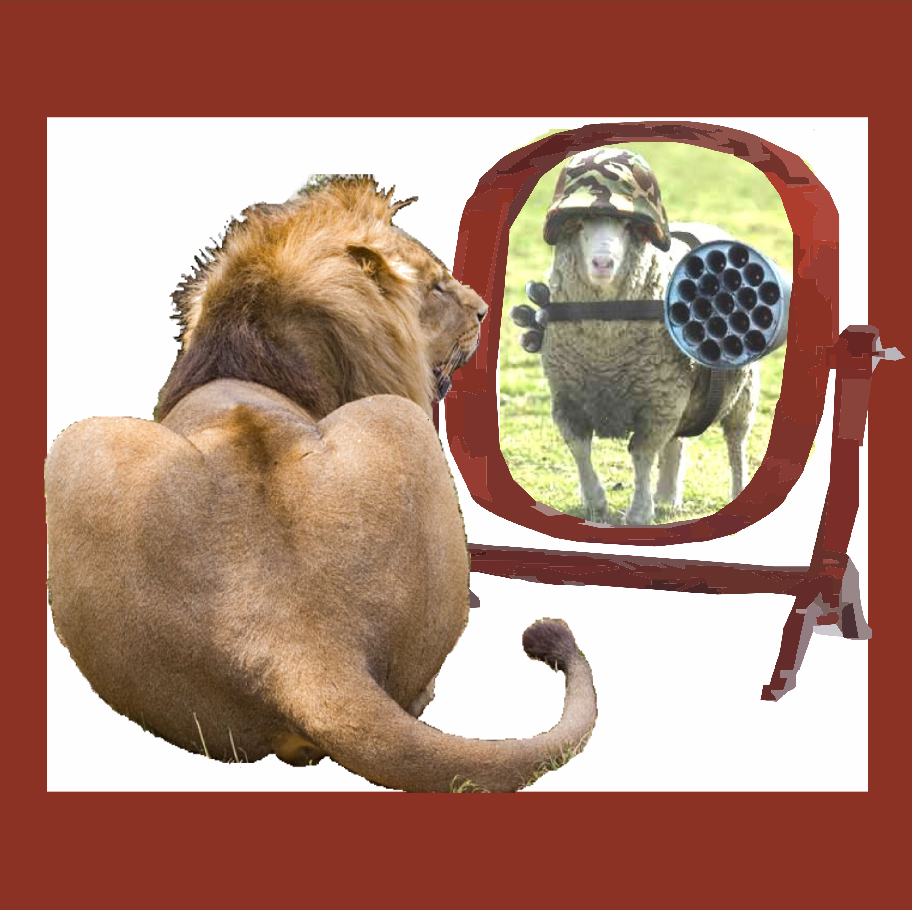 podcast.lion and armed sheep in mirror